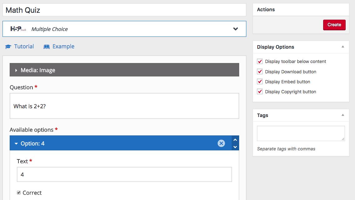 Screenshot of H5P configuration screen