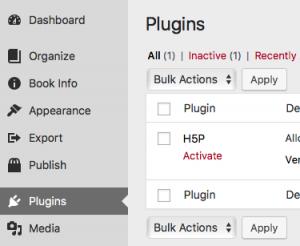 Screenshot of plugin menu